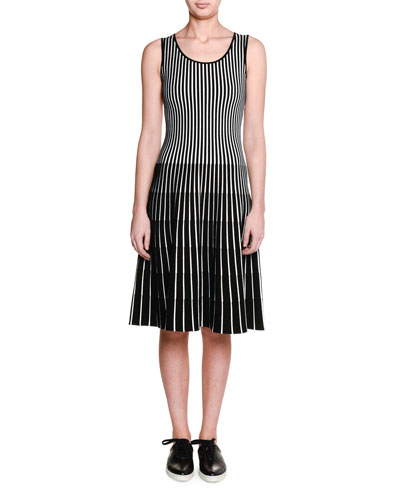 Sleeveless Striped Fit-and-Flare Dress, Black/White