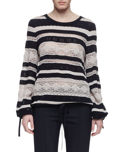 Striped Lace Long-Sleeve Sweater, Navy/White