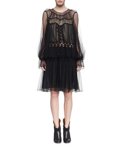 Herringbone Lace Long-Sleeve Dress, Black