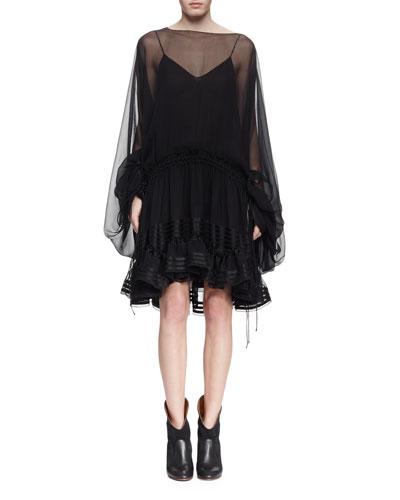 Sheer Silk Bell-Sleeve Ruffle Dress, Black