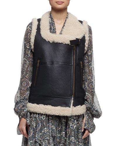 Leather Shearling Moto Vest, Cream/Black
