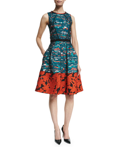 Mixed-Media Fit-&-Flare Dress, Teal