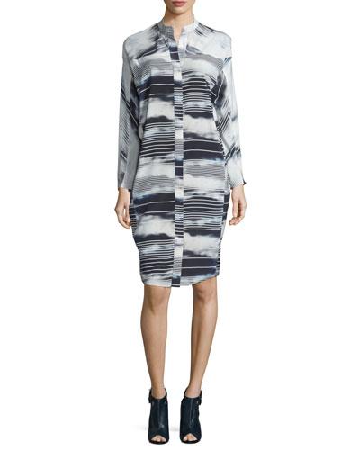 Nanu Striped Stretch-Silk Shirtdress, Cloudy Stripe