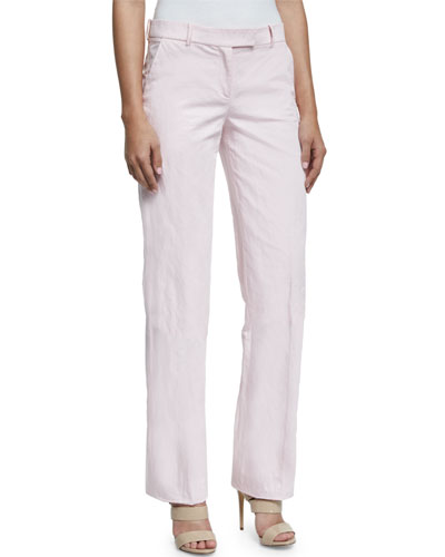 Straight-Leg Cotton Trousers, Pink