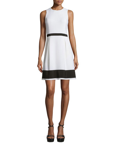 Sleeveless Colorblock Stretch-Crepe Dress, White