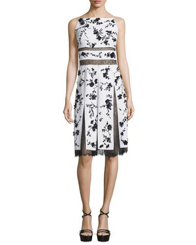 Floral-Print Lace-Inset Cami Dress, Optic White/Black