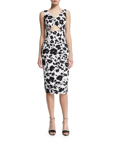 Sleeveless Floral-Print Cotton Sheath Dress, Black/White