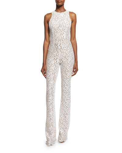 Sleeveless Floral Lace Jumpsuit, White