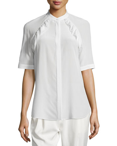 Half-Sleeve Band-Collar Silk Top, Antique