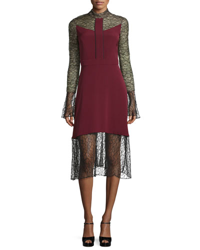 Long-Sleeve Lace Combo Dress, Burgundy