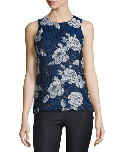 Sleeveless Floral Jacquard Top, Blue
