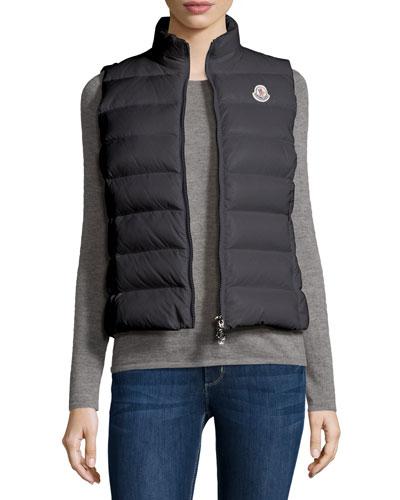 Ghany Zip Puffer Vest, Charcoal
