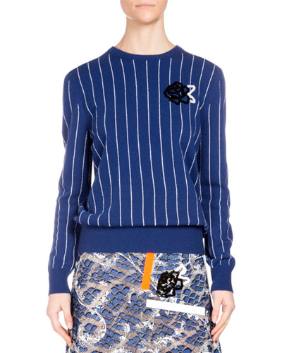 Striped Wool Sweater w/Sequin Rose, Blue