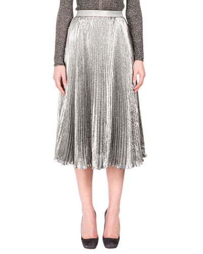 Metallic Accordion-Pleated Midi Skirt, Silver