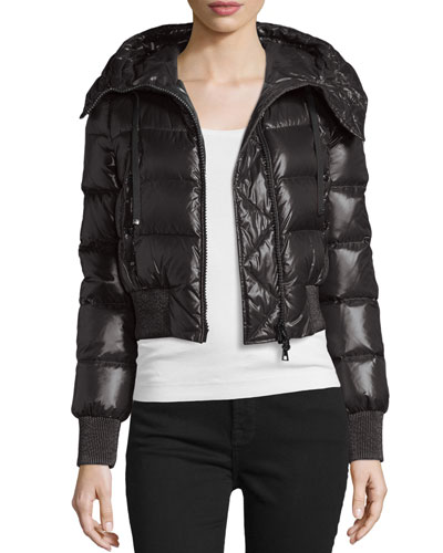 Sotiria Shiny Hooded Puffer Coat, Black