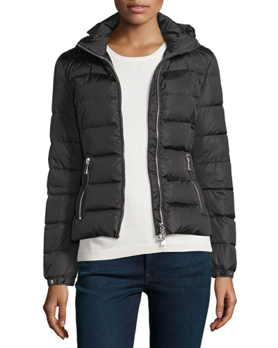 Oiron Quilted Puffer Coat w/Leather Trim, Black