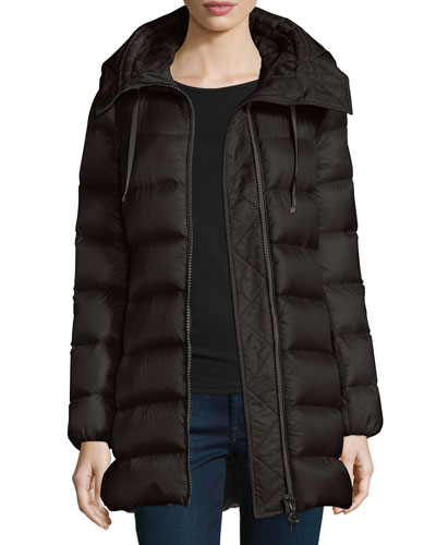 moncler velvet-trim quilted long puffer coat black