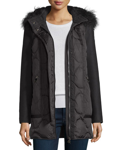 Theodora Quilted Puffer Coat w/Shearling Hood, Black