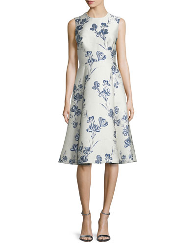 Juliet A-Line Dress, Ivory/Blue