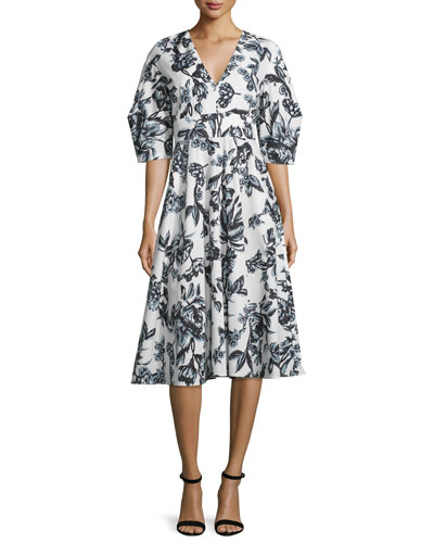 Floral-Print Mod-Sleeve Cotton Dress, Black/Ivory