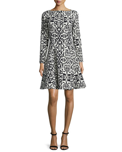 Long-Sleeve Bateau-Neck Dress, Black/Ivory