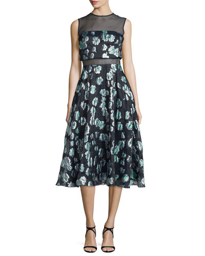Floral-Print Mesh-Inset Midi Dress, Green