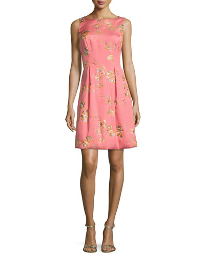 Betsy Full-Skirt Sheath Dress, Pink/Orange