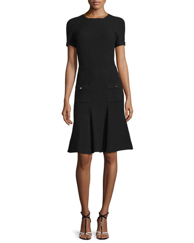 Short-Sleeve Fit-and-Flare Knit Dress, Black