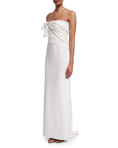 Knotted Strapless Silk Column Gown, White