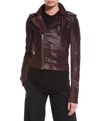 Calf Hair Moto Jacket, Burgundy