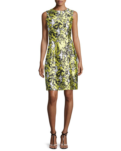 Sleeveless Pressed Floral-Print Dress, Citron
