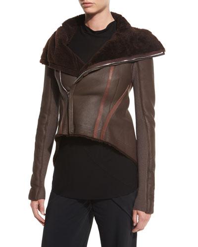 Shearling-Lined Leather Moto Jacket, Burgundy