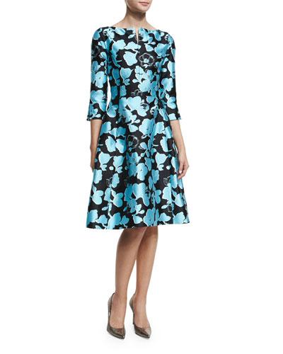 3/4-Sleeve Floral-Print Dress, Bright Blue
