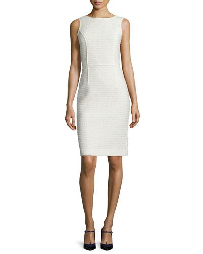 Sleeveless Sequined Tweed Sheath Dress, Vanilla