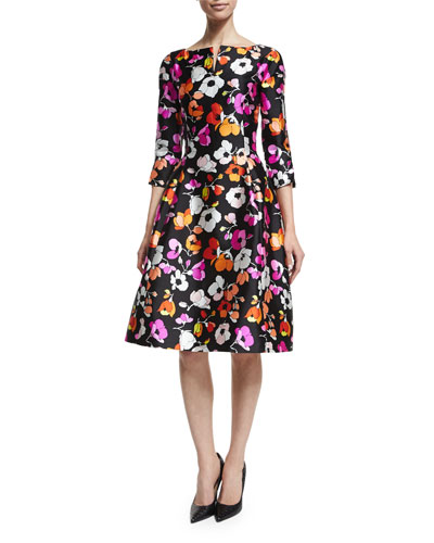 3/4-Sleeve Mixed Poppy-Print Dress, Black