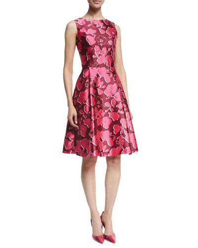 Sleeveless Poppy-Print Sateen Dress, Guava