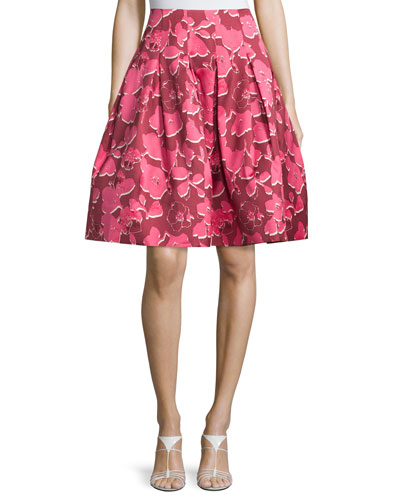 Pop Art Floral Party Skirt, Guava