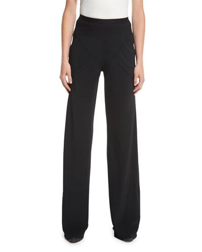 Bias-Cut Cady Pants, Black