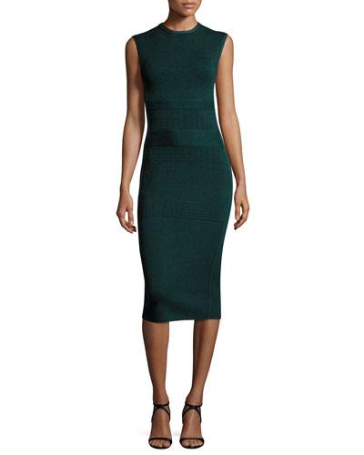 Sleeveless Knit Sheath Dress, Emerald