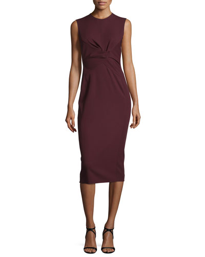 Sleeveless Twist-Front Sheath Dress, Bordeaux
