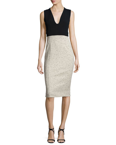 Sleeveless Fitted Jacquard Combo Dress, Black/Brown