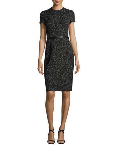 Short-Sleeve Jacquard Sheath Dress, Black