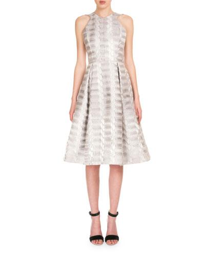 Sleeveless Jacquard Midi Dress, Silver