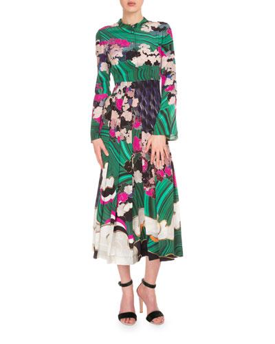 Bell-Sleeve Mixed-Print Silk Maxi Dress, Multi