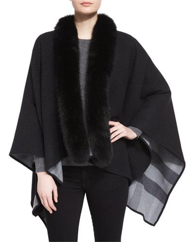 Fox Fur-Trimmed Merino Cape, Charcoal