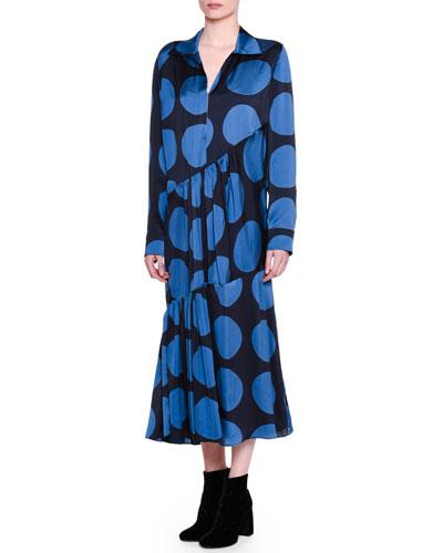 Long-Sleeve Bias-Cut Polka Dot Dress, Black/Blue