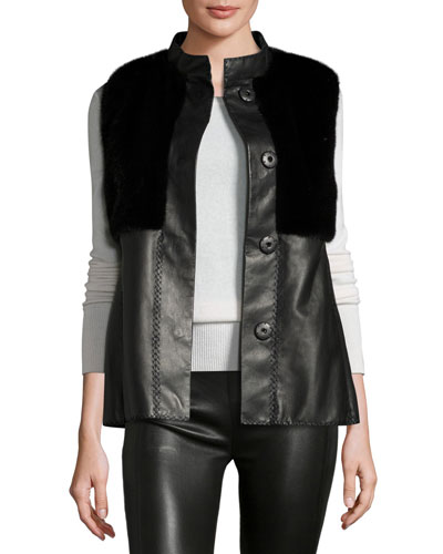 Mink Fur-Trim Leather Vest, Black