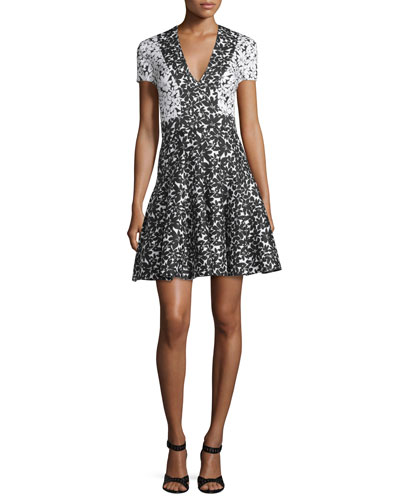 Short-Sleeve Floral Fit-and-Flare Dress, Ivory/Black