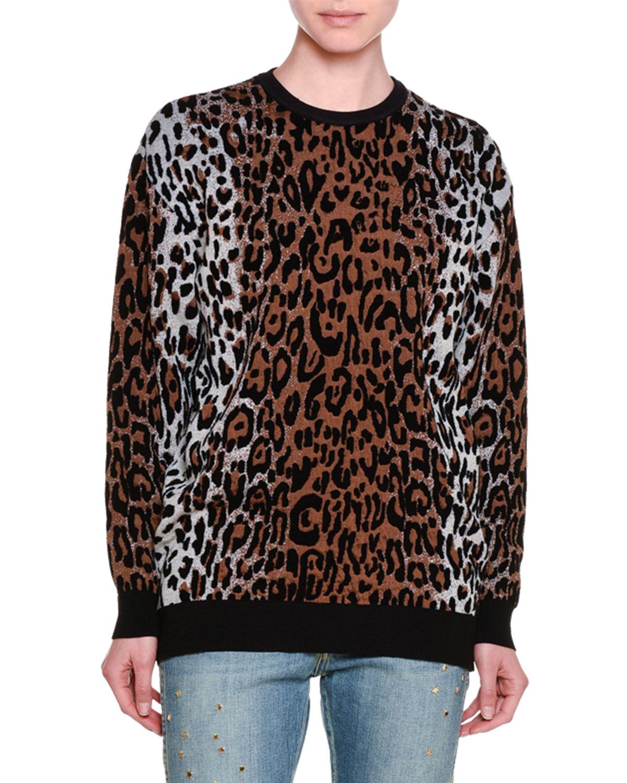 Knit Leopard-Print Sweatshirt