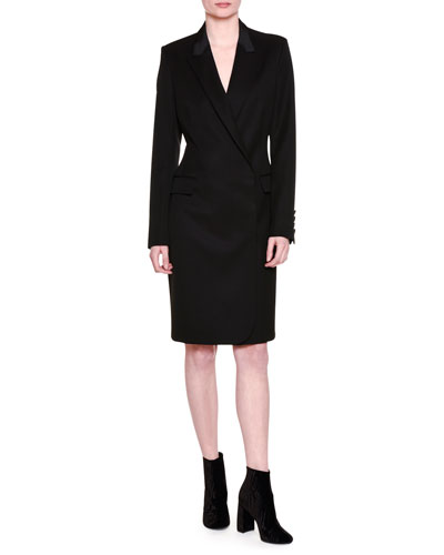 Wool Tuxedo Dress, Black